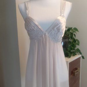 Pale pink chemise nightgown with robe.